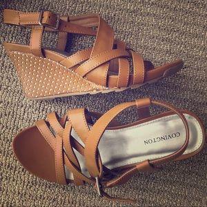 "Covington Tan Strappy 3"" Wedge Sandals"